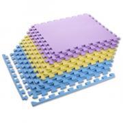 Ochranná puzzle podložka MP10 žlutá-modrá-fialová